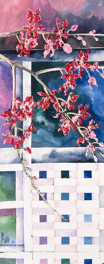 Stock Photo: 875-3182 Orchid and Lattice, 1995, John Bunker (20th C. American), Watercolor, Private Collection