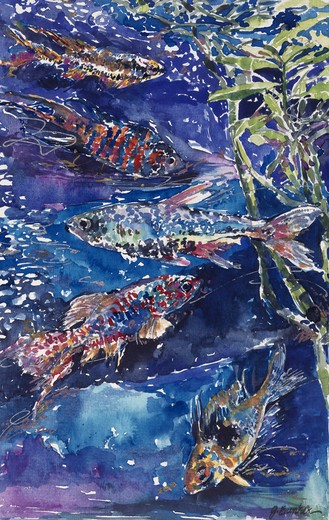 Stock Photo: 875-3233 Tropical Fish I by John Bunker, watercolor and metallics, 1996