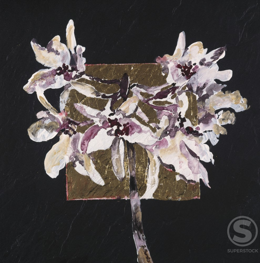 Wild Orchid Blossom, by John Bunker, Acrylic and gold leaf on tile, 1997, 20th Century : Stock Photo
