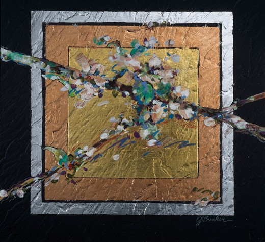 Squared Spring Blossoms by John Bunker, acrylic, gold leaf and silver, 1997 : Stock Photo
