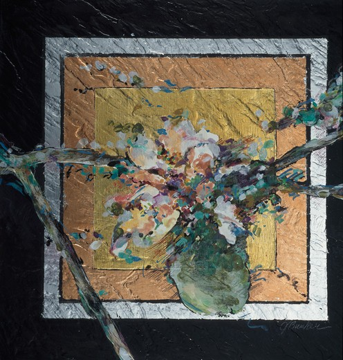 Stock Photo: 875-3318 Squared Spring Blossoms II by John Bunker, acrylic, gold leaf, copper and silver, 1997