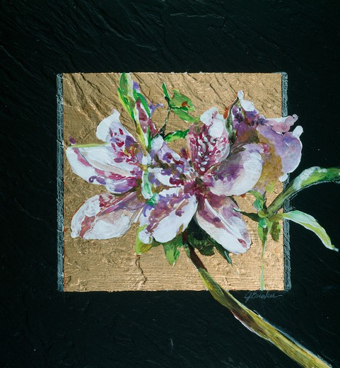 Stock Photo: 875-3319 Squared Azalea II by John Bunker, acrylic, gold leaf and tile, 1997