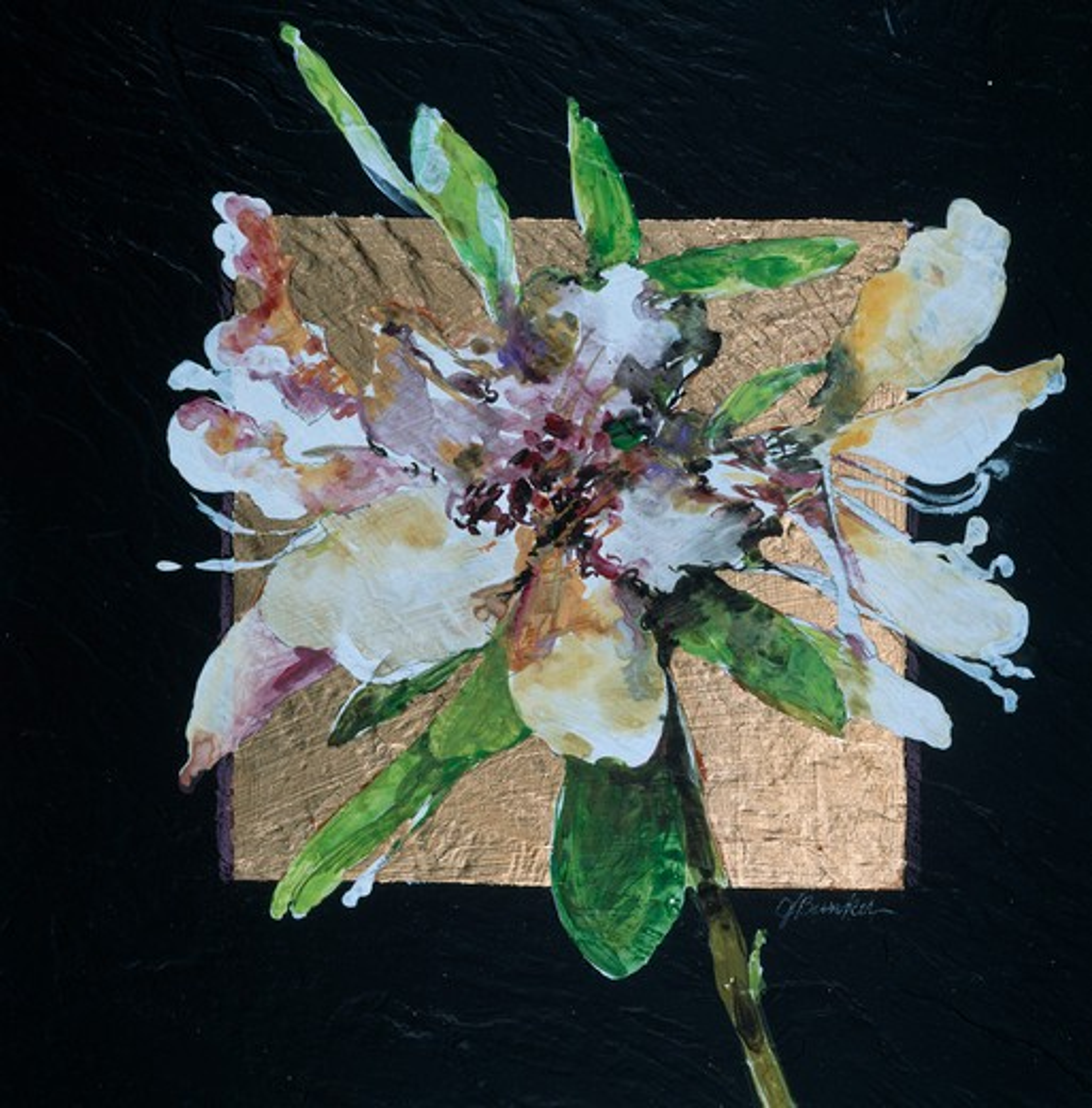 Squared Azalea I by John Bunker, acrylic, gold leaf and tile, 1997 : Stock Photo