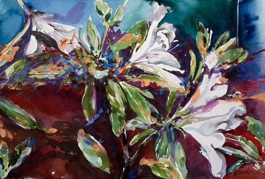 Right panel from Wild azaleas by John Bunker, acrylic and watercolor, 1997 : Stock Photo