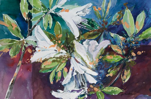 Wild Azaleas by John Bunker, acrylic and watercolor, 1997 : Stock Photo
