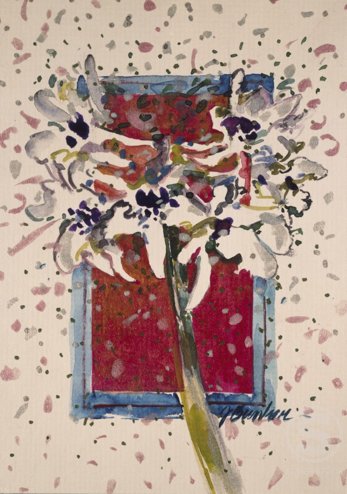 Stock Photo: 875-3340 Festive Orchids, by John Bunker, watercolour on board, 1998, 20th Century