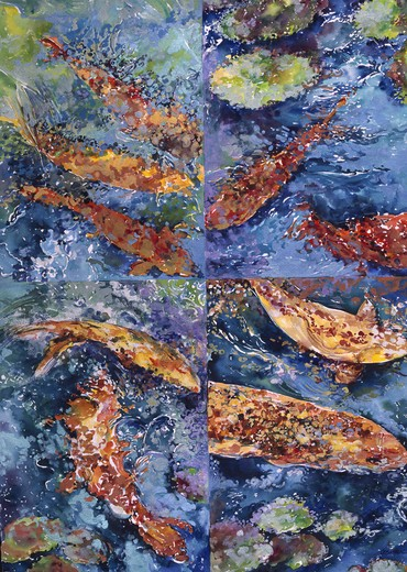 Stock Photo: 875-3357 Fish Quadrant I, by John Bunker, watercolour on paper, 1999, 20th Century, Private Collection