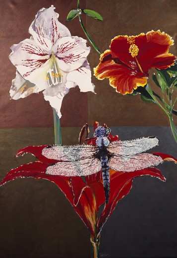 Stock Photo: 875-3371 Dragonfly, Lily, Amaryllis & Hibiscus Quad, by John Bunker, acrylic on canvas, 2000, 20th Century