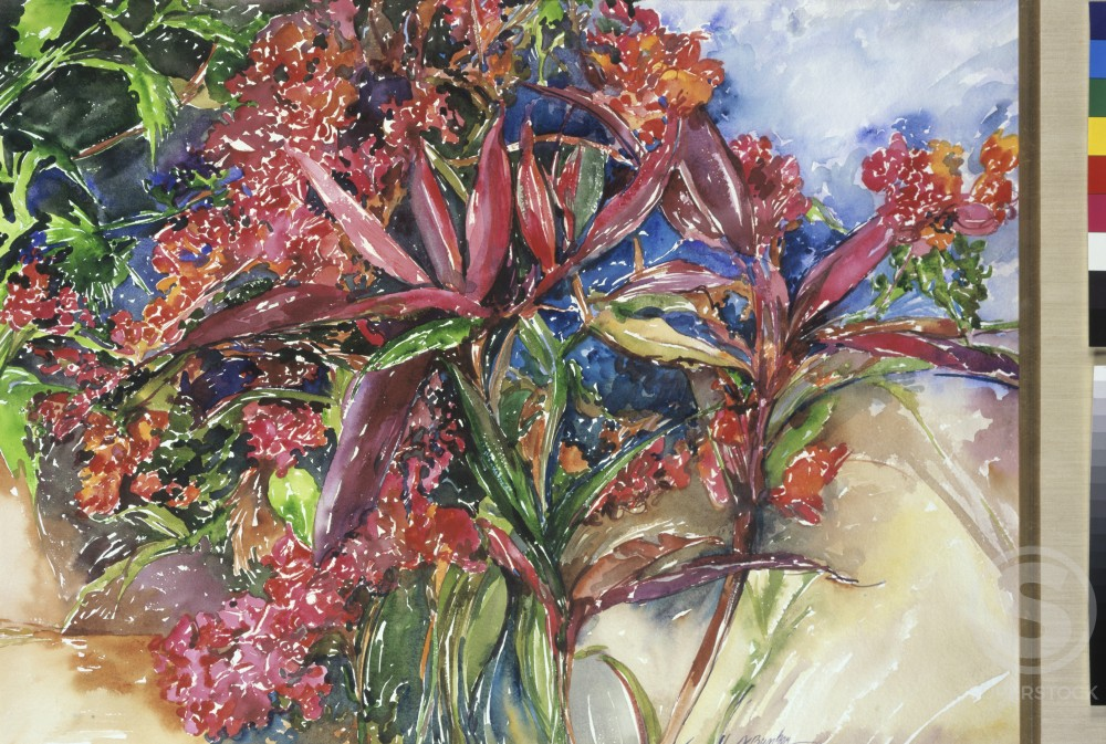 Foliage On The Deck, 2000, John Bunker (20th C./American), Watercolor on handmade paper : Stock Photo