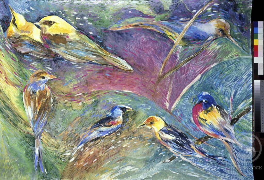 Stock Photo: 875-3375 Memory Of Songbirds, 2000, John Bunker (20th C./American), Watermedia on paper