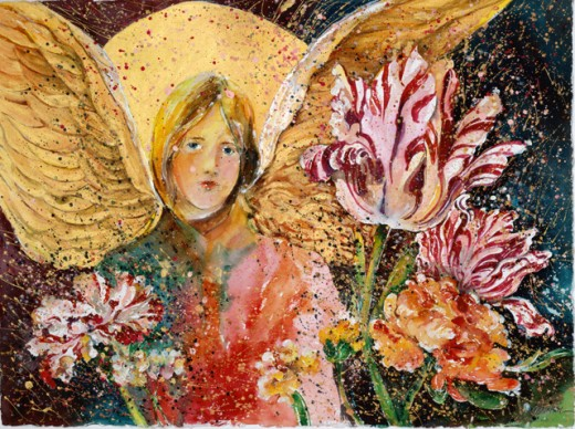 Angel with Tulips, 2002, John Bunker (20th C. American), Watercolor & metallics) : Stock Photo