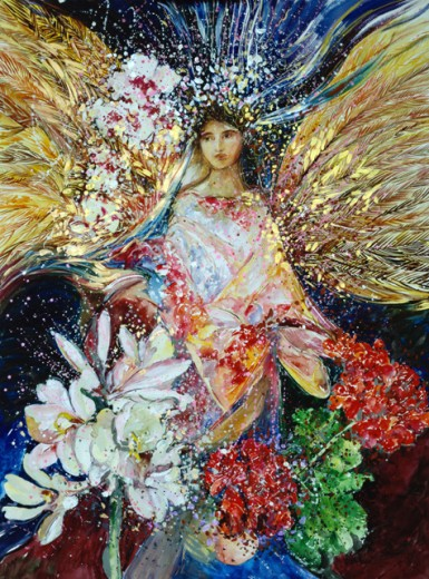 Stock Photo: 875-3401 Angel-Asian Inspired, 2002, John Bunker (20th C. American), Watercolor, acrylic & metallic