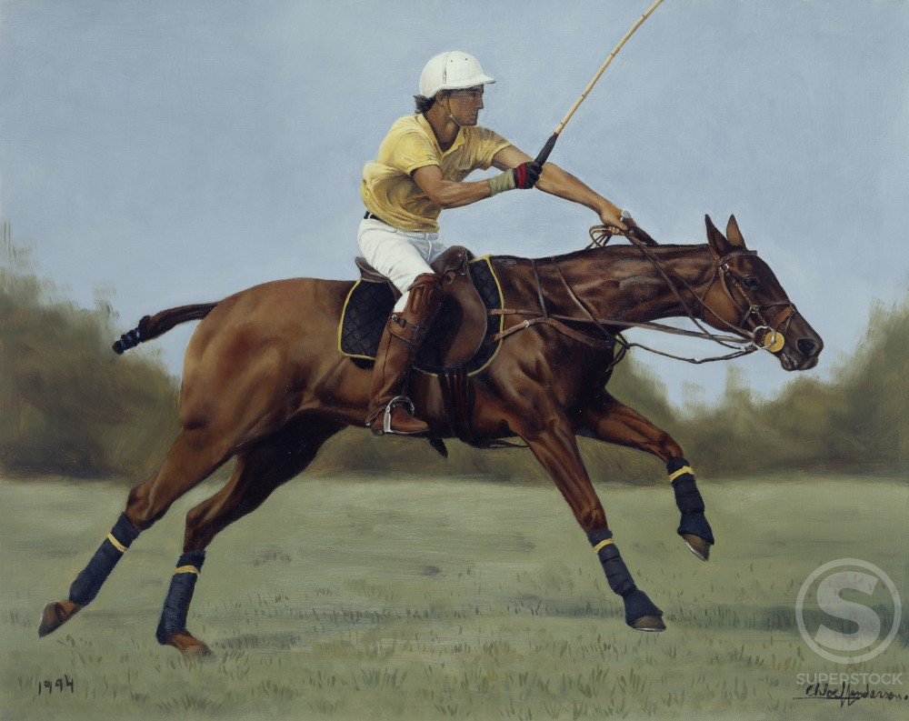Racing for It by Chloe Henderson, oil on canvas, 1994, Born 1975 : Stock Photo