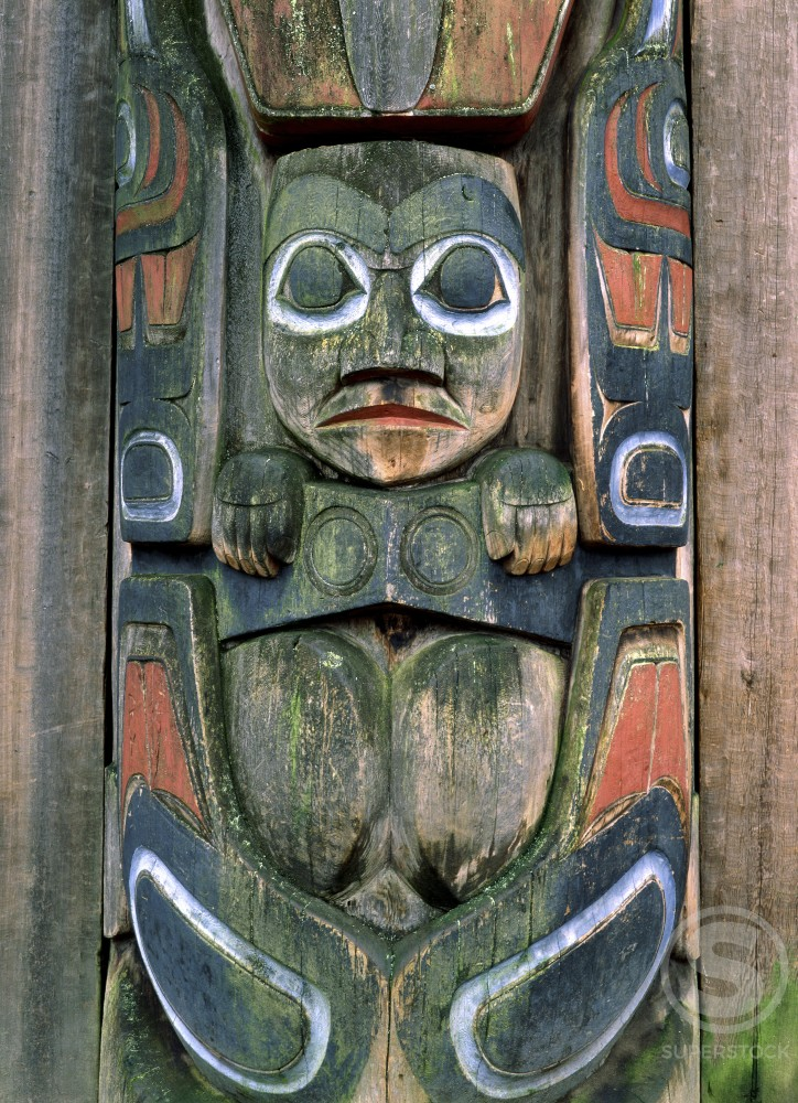 Stock Photo: 882-156A Close-up of a Haida totem pole