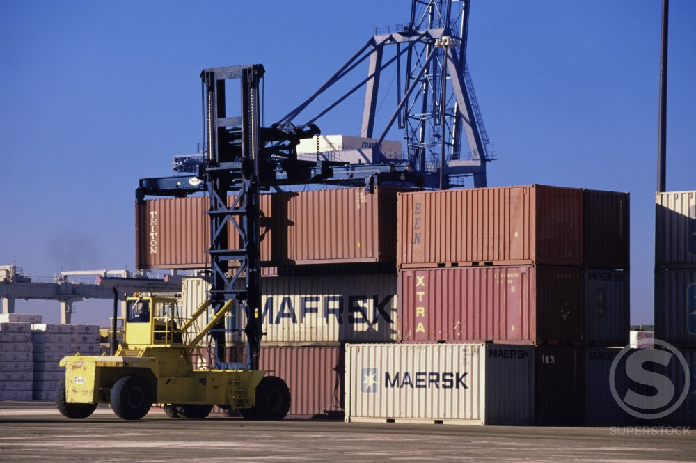 Stock Photo: 882-336A Crane and cargo containers at a commercial dock