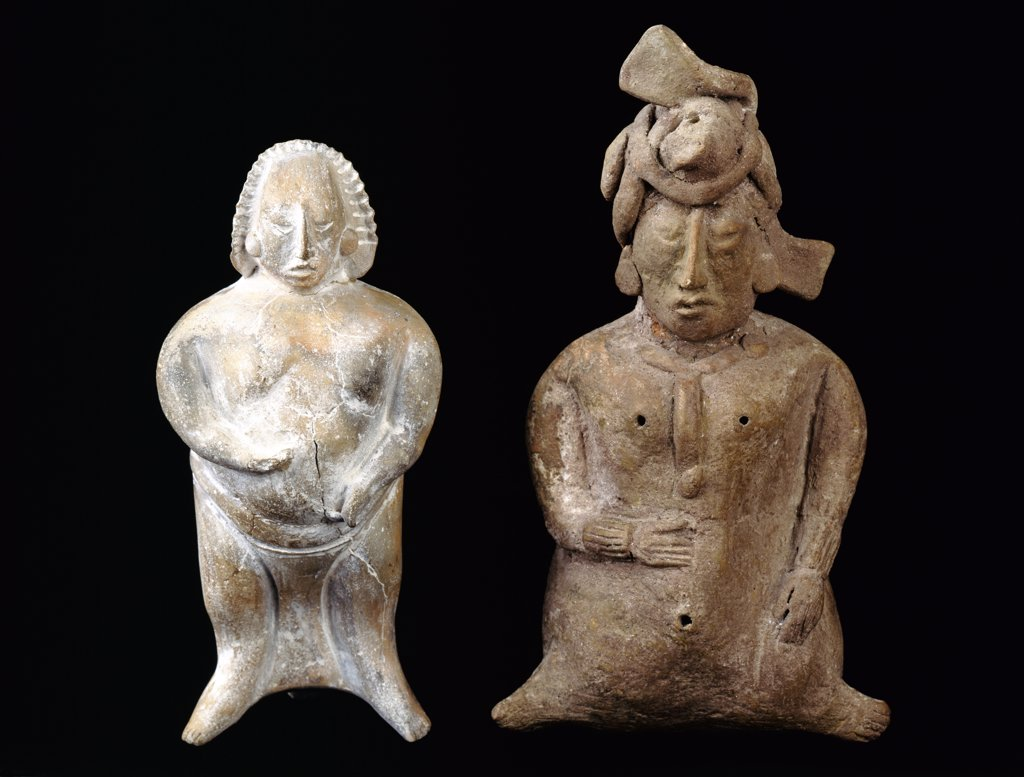 Stock Photo: 888-8036 Mayan clay figurines from Campeche,  Mexico,  USA,  Florida,  Jacksonville,  The Museum of Contemporary Art,  Pre-Columbian Collection,  circa 700-1000 A.D.