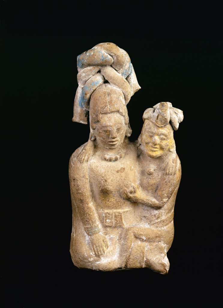 Mayan clay figurines from Campeche,  Mexico,  USA,  Florida,  Jacksonville,  The Museum of Contemporary Art,  Pre-Columbian Collection,  circa 700-1000 A.D. : Stock Photo