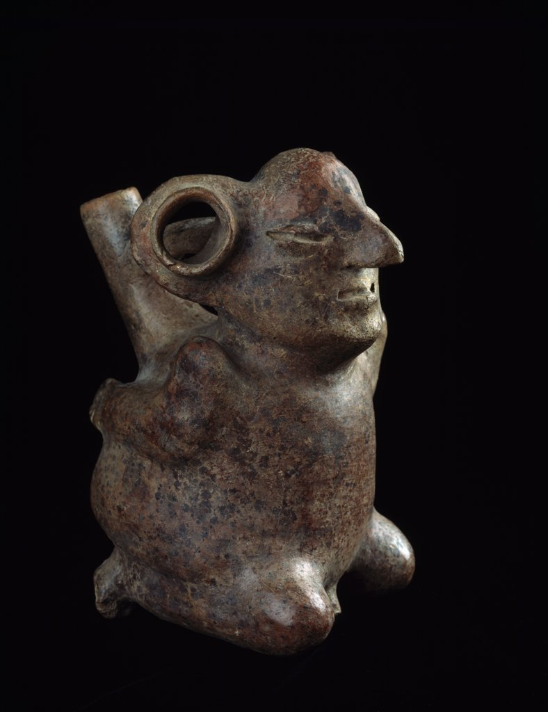 Stock Photo: 888-8049 Bound prisoner spout vessel from Early Moche,  Peru,  USA,  Florida,  Jacksonville,  The Museum of Contemporary Art,  Pre-Columbia Ceramic Collection,  circa 400-100 B.C.