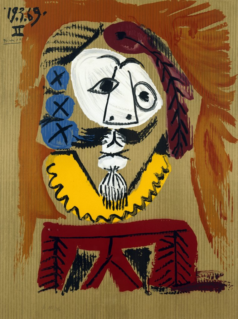 Stock Photo: 888-8078 Imaginary Portrait No. 1 by Pablo Picasso, 1969, 1881-1973, USA, Florida, Jacksonville, Collection of The Museum of Contemporary Art