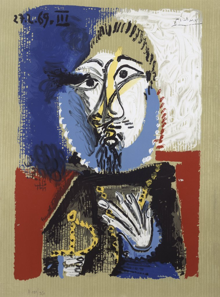 Stock Photo: 888-8079 Imaginary Portrait No. 2 by Pablo Picasso, lithograph, 1969, 1881-1973, USA, Florida, Jacksonville, Collection of The Museum of Contemporary Art