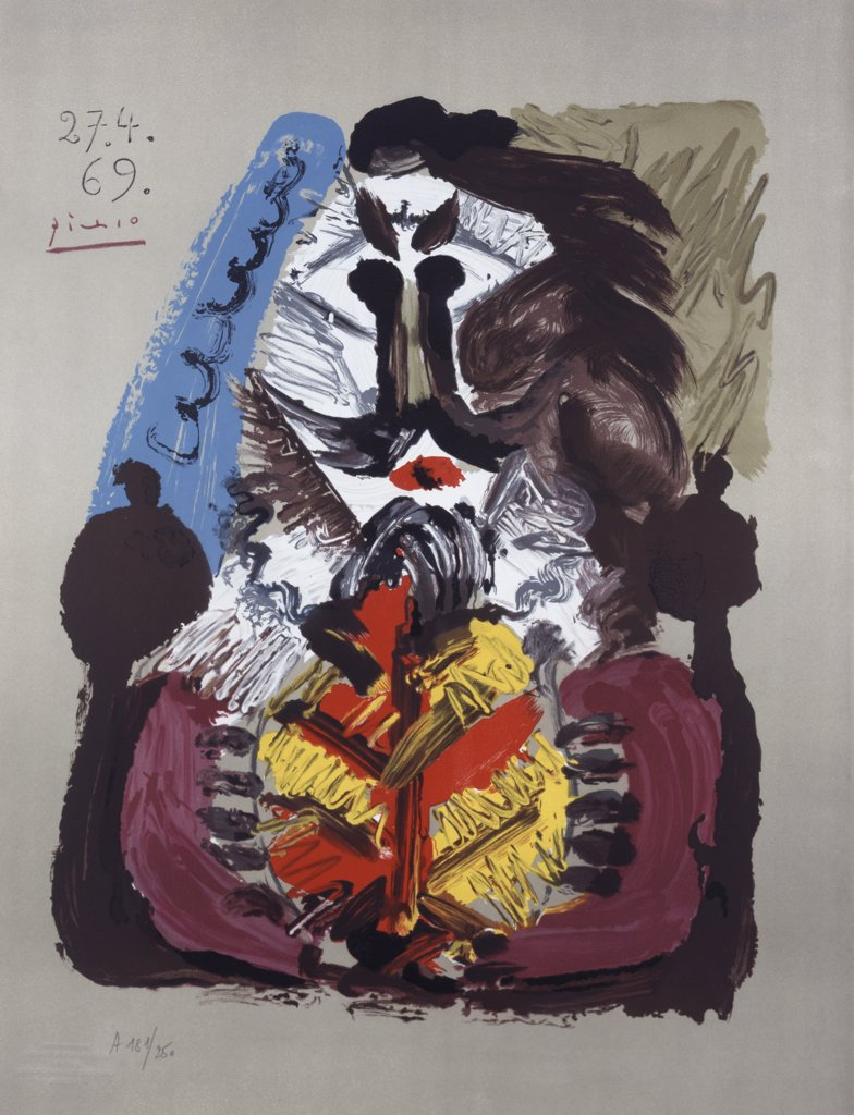 Imaginary Portrait No. 16 by Pablo Picasso, lithograph, 1969, 1881-1973, USA, Florida, Jacksonville, Collection of The Museum of Contemporary Art : Stock Photo