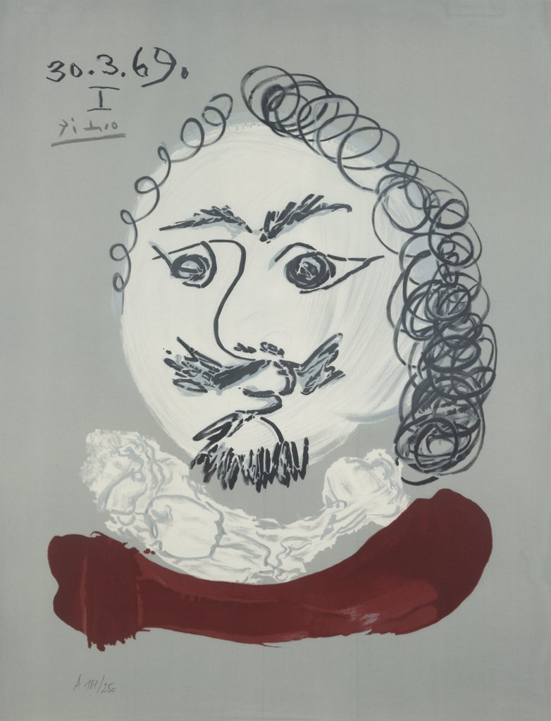 Stock Photo: 888-8087 Imaginary Portrait No. 21 by Pablo Picasso, lithograph, 1969, 1881-1973, USA, Florida, Jacksonville, Collection of The Museum of Contemporary Art