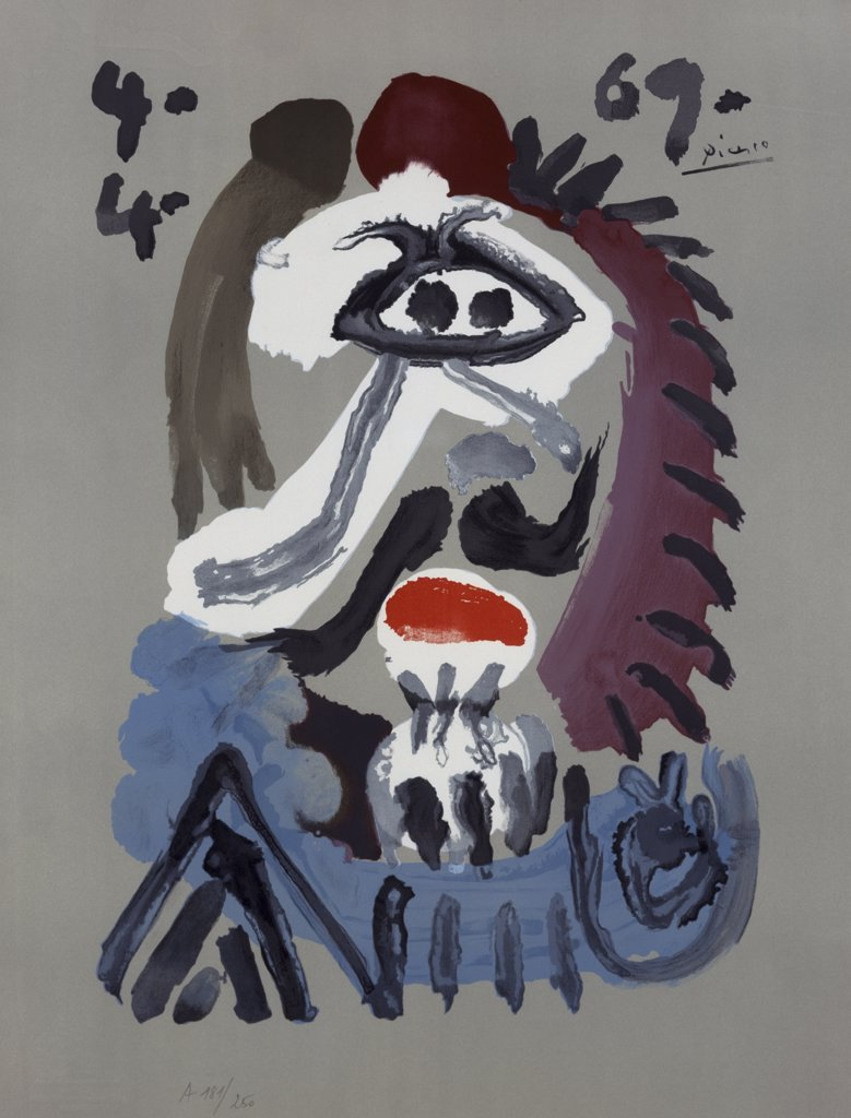 Stock Photo: 888-8098 Imaginary Portrait No. 17 by Pablo Picasso, lithograph, 1969, 1881-1973, USA, Florida, Jacksonville, Collection of The Museum of Contemporary Art