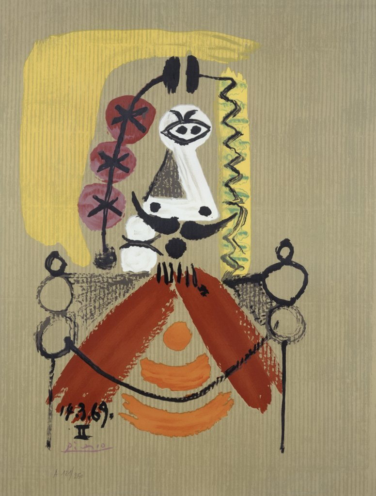 Stock Photo: 888-8100 Imaginary Portrait No. 20 by Pablo Picasso, lithograph, 1969, 1881-1973, USA, Florida, Jacksonville, Collection of The Museum of Contemporary Art