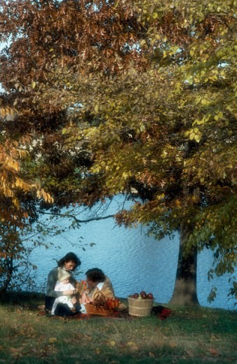 Mid adult couple with their child sitting at a lakeside : Stock Photo
