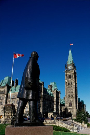 Statue of Prime Minister John Diefenbaker, Parliament Hill, Ottawa, Ontario, Canada : Stock Photo