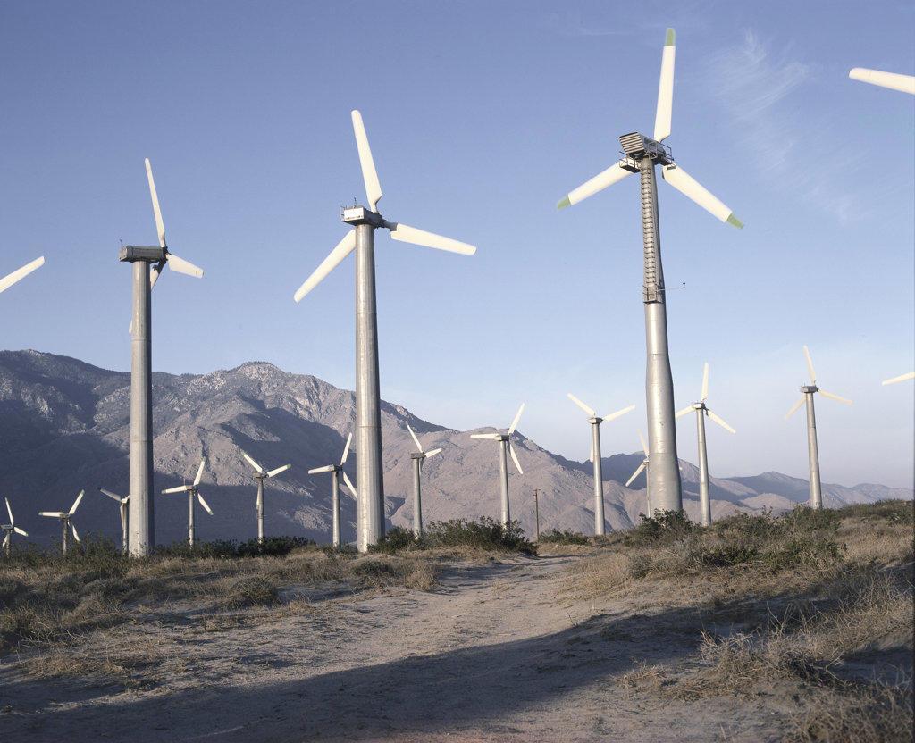 Stock Photo: 898-111 Wind Power Generators Banning California USA