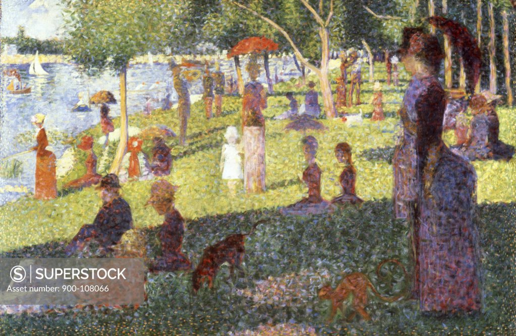 Stock Photo: 900-108066 Sunday Afternoon on the Island of La Grande Jatte (Study) 1884-1886 Georges Seurat (1859-1891 French) Oil on canvas