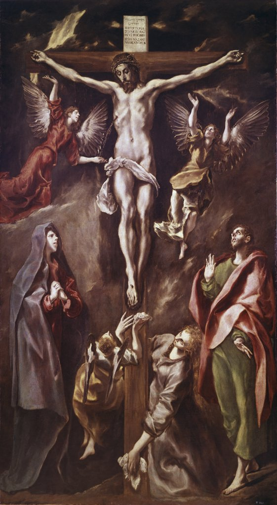 Crucifixion with Virgin, Magdalene, St. John & Angels 1590-1600 El Greco (1541-1614 Greek) Oil On Canvas Museo del Prado, Madrid, Spain : Stock Photo