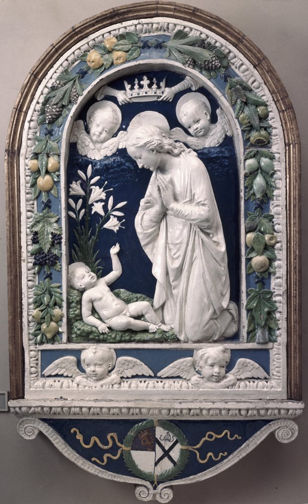 Stock Photo: 900-100205 Adoration of the Child by Andrea Della Robbia, glazed terracotta, (1435-1525), USA, Washington DC, National Gallery of Art