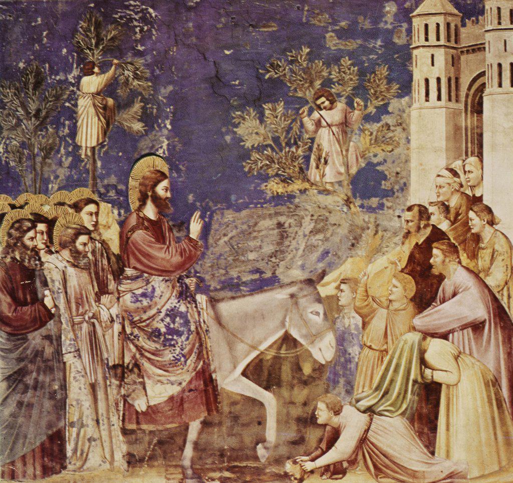 Christ At The Gates Of Jerusalem  C. 1304-5 Giotto (ca.1266-1337 Italian) Fresco Capella Scrovegni, Padua, Italy : Stock Photo