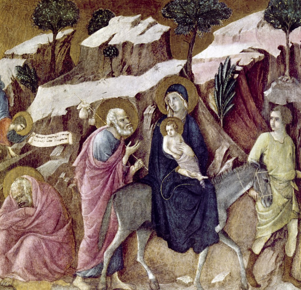 Flight into Egypt by Duccio Di Buoninsegna, (1255-1319) : Stock Photo