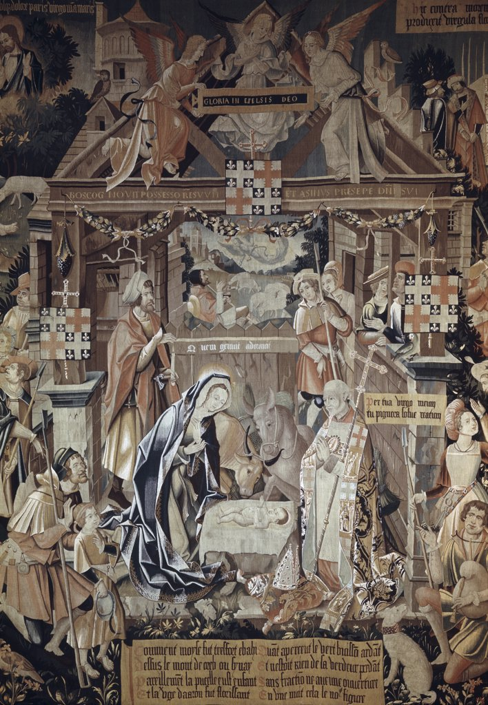 Stock Photo: 900-100603 Adoration Of The Shepherds 16th Century Tapestry Textiles (Flemish)