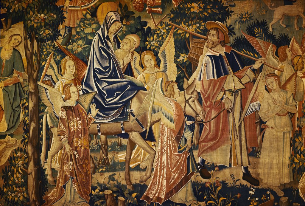 Flight into Egypt, tapestry, 16th Century : Stock Photo