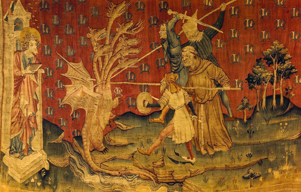 Stock Photo: 900-100609 Apocalypse - Seven Headed Dragon, Tapestry/Textiles