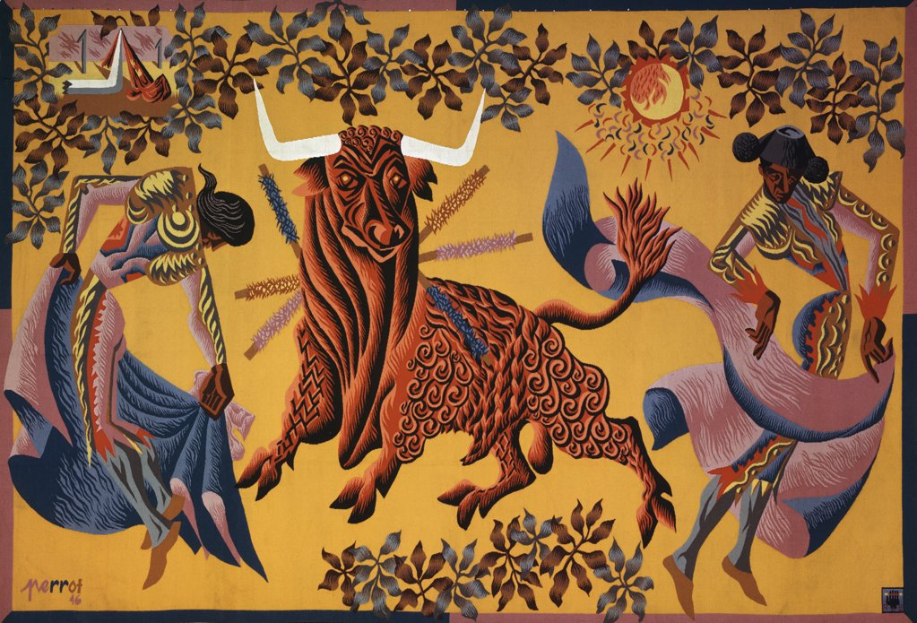 Stock Photo: 900-100617 The Bullfight After by Rene Perrot, tapestry, 1912-1979