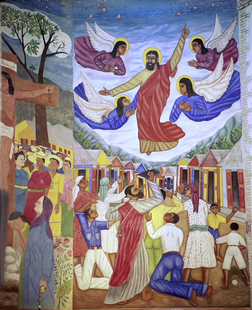 Stock Photo: 900-101047 The Ascension by Castera Bazile, 1950-1951, 1923-1966, Haiti, Port-au-Prince, Tempera Cathedral of St. Trinite