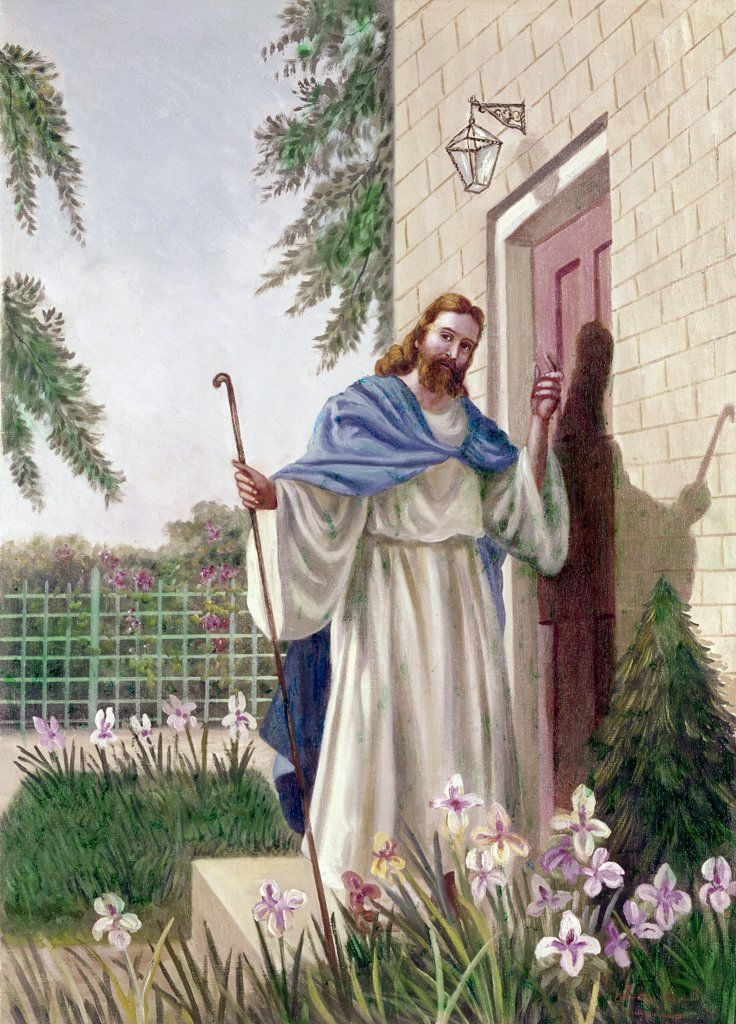 Jesus Knocketh at Door by Vittorio Bianchini (1797-1880) : Stock Photo