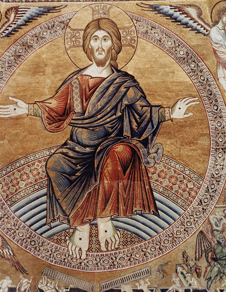 Christ Enthroned Detail from the Last Judgement Byzantine Art 330 A.D.-1435  : Stock Photo