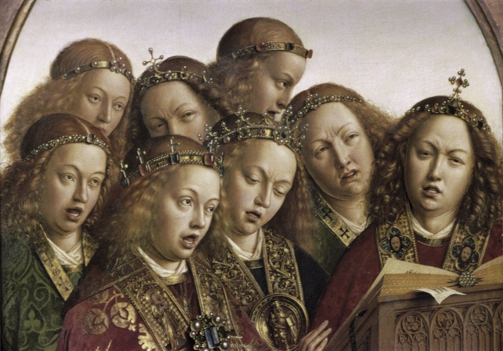 Singing Angels - Ghent Altarpiece c. 1432 Hubert van Eyck (1366-1426/Netherlandish)  and Jan van Eyck (1390-1441/Flemish) Oil on Wood Panel Cathedral of St. Bavo, Ghent, Belgium : Stock Photo