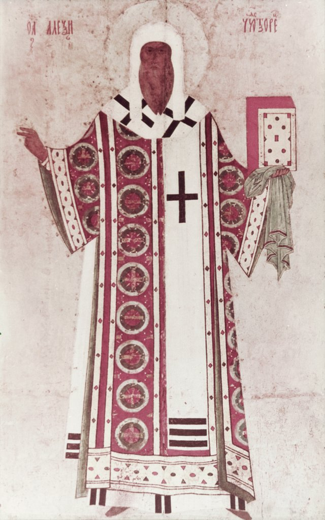 Stock Photo: 900-101500U The Metropolitan Aleksei 15th Century Dionisius (15th C. Russian) Icon