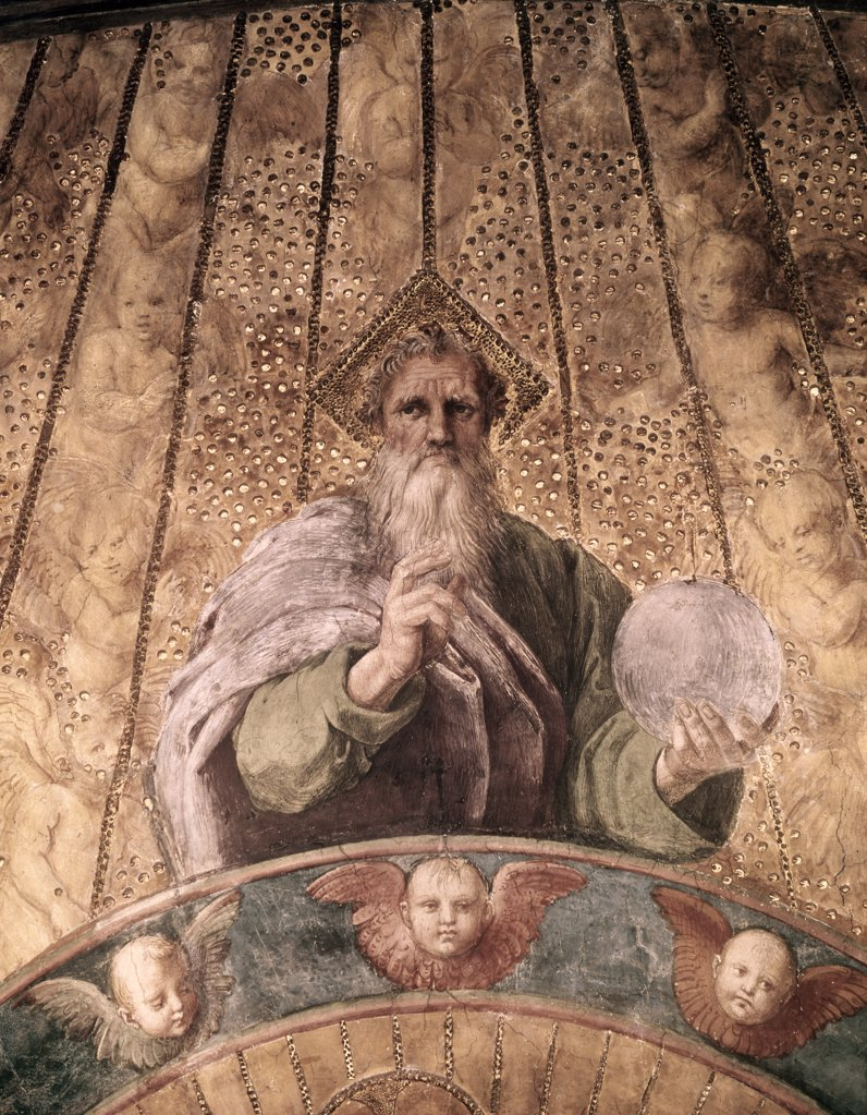 Stock Photo: 900-101532 La Disputa - Detail (the Creator) 1510-11 Raphael (1483-1520 Italian) Fresco Stanza della Segnatura, Palazzi Pontifici,Vatican City