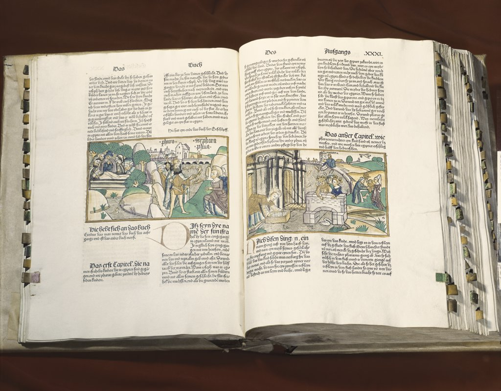 German Bible: Story of Moses Manuscripts 1483 AD American Bible Society New York City  : Stock Photo
