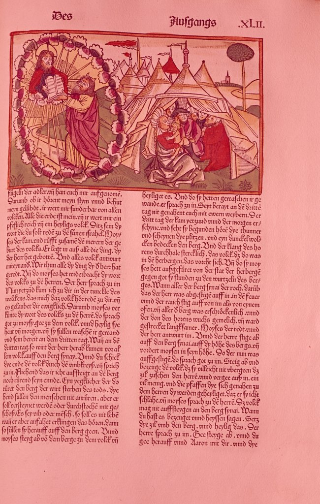 Stock Photo: 900-101713 Moses Receiving Commandments,  from German Bible,  woodcut print,  USA,  New York,  New York City,  American Bible Society,  1483 A.D.