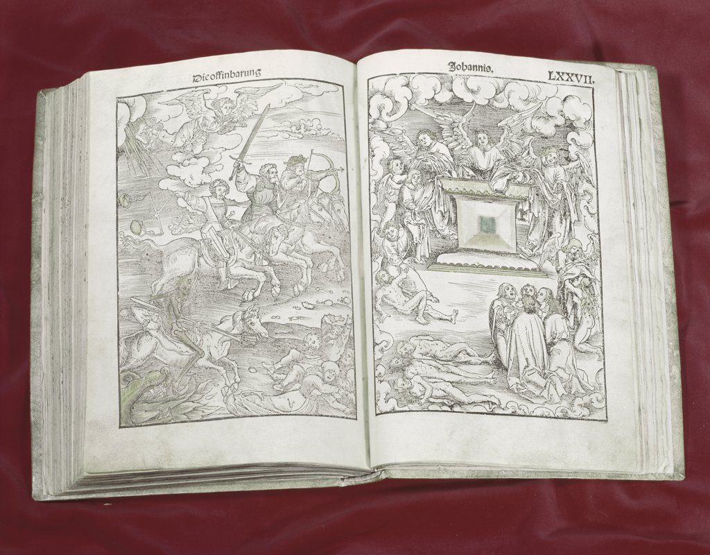 Stock Photo: 900-101714 Martin Luther Bible: Four Horsemen of Apocalypse 1523AD Manuscripts American Bible Society, New York