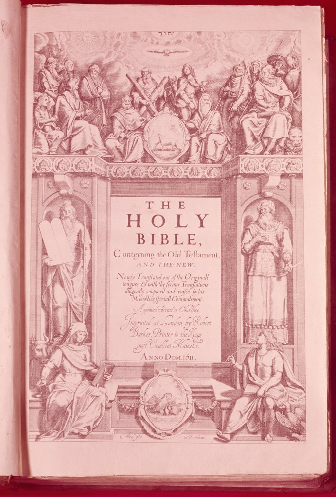 Stock Photo: 900-101724 Title Page of King James Bible,  lithograph,  USA,  New York,  New York City,  American Bible Society,  1611 A.D.